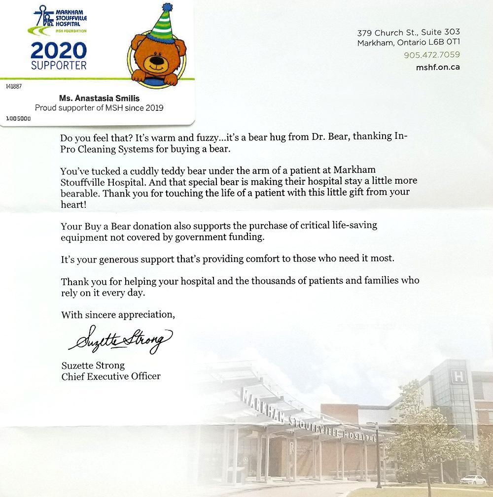 Markham Stoufville Hospital Letter
